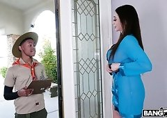 Young black buddy gets lured by fabulous MILF Ariella Ferrera