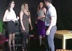 Deepthroating CFNM babe teases naked sub