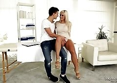 Fine blonde submissive horny milf seduces a young man for a quickie