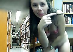 Shameless girlfriend getting naked in the public library