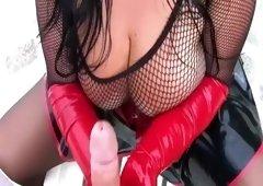 Fishnet Tits - Blowjob Handjob with Rubber Gloves - Fuck my Pussy - Cum on my Fishnet Tits
