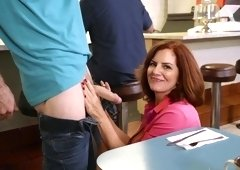 Nasty redhead waitress fucks customer during the shift