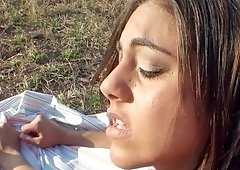 A woman with a hairy pussy is fucked on the grass very deeply