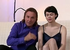 Old ladies' man fucks lovely French babe Adele and stretches her pussy