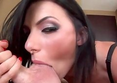 Juelz Ventura shows her big juicy tits and sucks dick