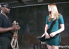 Small tits of submissive tied up whore Jessica Kay get slapped with stick