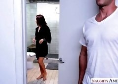 Sexy Evelin Stone offers neighbor to enjoy steamy sex in the bathroom
