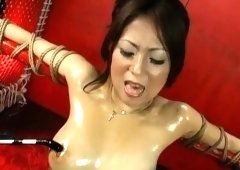 Japanese hairy twat stuffed with sex toys