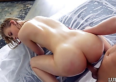 Lovely blonde Hannah Hays gets her pussy licked and lubed before heavy pounding