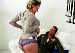 Muscled fighter pilot fucks busty wife with cross tattoo on back