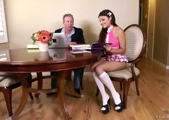 College chick in kilt skirt Adria Rae gets in pants of her horny tutor