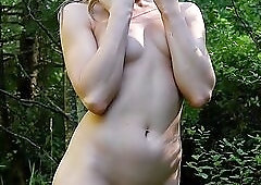 Euro centerfold strips and plays in nature