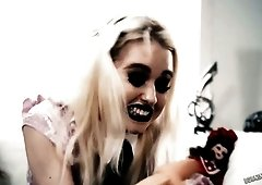 Dirty harlot with heavy makeup Chloe Cherry gets her Gothic ass fucked