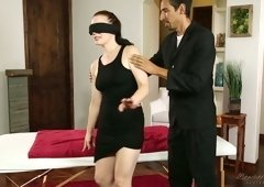 Blind Folded babe Jessica Ryan is fucked by one strange dude in the presence of cuckold husband