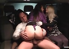 intense threesome sex in the backseat