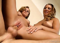 Beautiful blonde friends sharing big dick in hardcore threesome