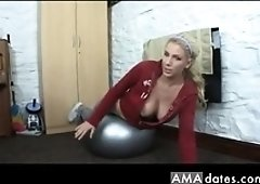 Danielle's downblouse while working out on a ball