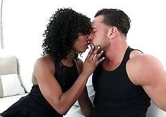 Black girl Misty Stone fucked hard by friend's husband's white shlong