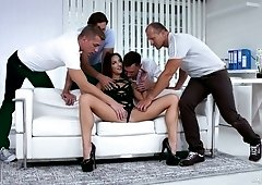 Hungarian babe Amirah Adara takes part in crazy gangbang