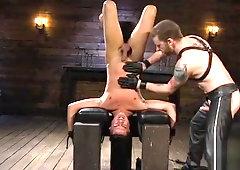 Bound stud cocksucking his maledom master