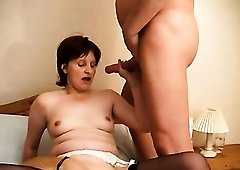 Real ugly slut in black stockings is fucked in spoon pose by old man