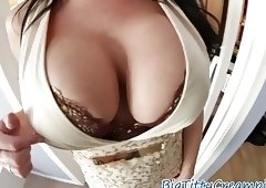Busty milf tittyfucks and sucks dick