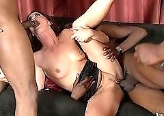 Mommy triple teamed by black cocks that stretch her out