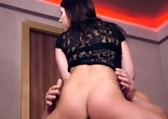 High heels and standing quickie fuck with a brunette
