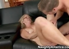Heavenly golden-haired MILF Annabelle Brady gets her ass fucked