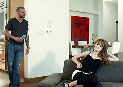 Cute babe Faye Reagan sucks on cock before hardcore missionary penetrations on the sofa