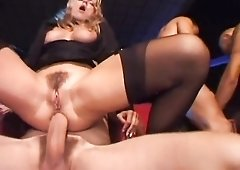 Sluts in the movie theater fucked by horny guys
