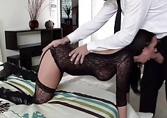 Alektra Blue is sucking and fucking in black fishnet suit & leather boots