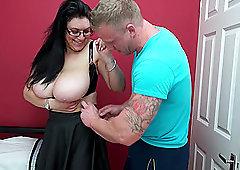Tattooed busty buxom mature MILF Sabrina Jade gets a hardcore fuck