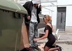 Classy ladies sucks his homeless cock and gets fucked