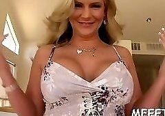Luxurious brunette Phoenix Marie prepares for blowjob