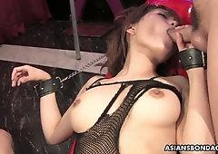 Bushy pussy of handcuffed Asian slut Yui Shimizu is teased with sex toys