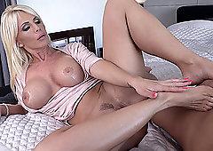 Blonde MILF bombshell Tiffany Rousso gets cum on her slender feet