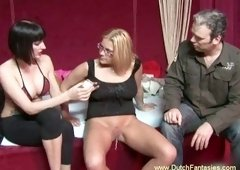 Cute blonde chick with glasses blows dick of a chubby guy