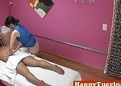 Real asian masseuse gives hj until cumshot