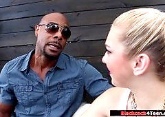 A blonde is having a serious conversation with her stepmoms black bf The guy plans to marry her stepmom,and since she and her stepmom share things she