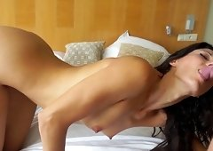 Slim brunette girl wants to fuck with him more than anything