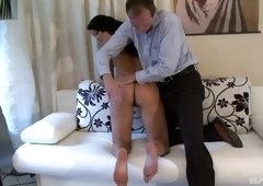 Brunette girl Lana gets her round ass spanked by a neighbor