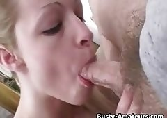 Busty amateur Candace giving blowjob on white cock