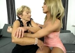 Old lesbian Malya gives a cunnilingus and rimjob to one sex-appeal babe