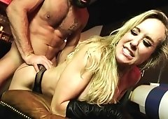 Milf Brandi Love takes a hard pussy pound & cum all over her face