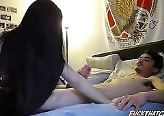 Sexy Brunette Hairjob and CreamPie, Long Hair, Hair