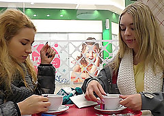 Barely legal blonde lesbian couple lick each other after having tea