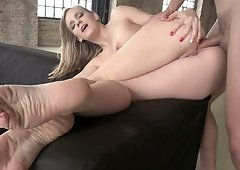 A blonde is fucked in her ass and she really loves it a lot