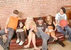 Chastity Lynn and Courtney Taylor join nasty men for an orgy