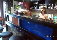 Natural huge tits waitress fucking pov